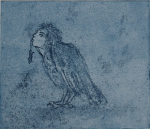 Soft ground etching of a harpy.